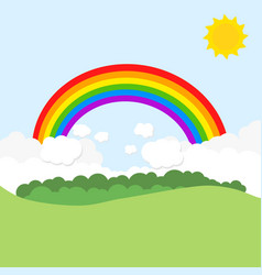 Landscape with rainbow and sun vector
