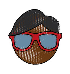 Man with glasses icon vector