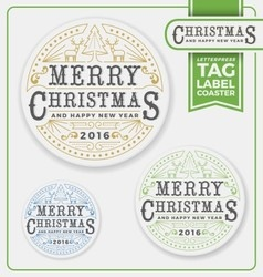 Merry christmas tags label coaster letterpress vector