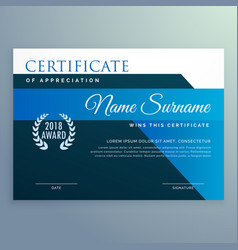 modern blue certificate and award design template vector image