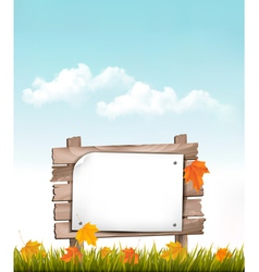 Nature background with autumn leaves and wooden vector image vector image