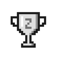 pixel art silver cup award trophy icon vector image