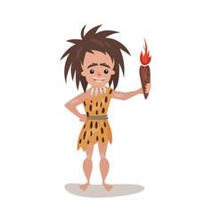 Prehistoric woman wearing in an animal skin vector