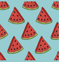 seamless pattern with the slices of watermelon vector image vector image