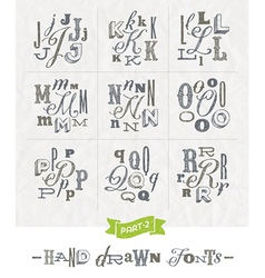 Set of Hand drawn different fonts for a headlines vector image vector image