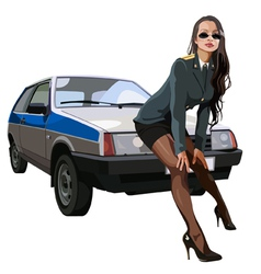 sexy woman in police uniform leaned against vector image