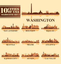 Silhouettes cities of usa set 2 vector