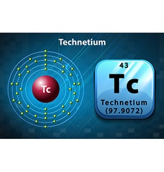 Symbol and electron diagram for technetium vector