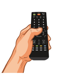 Tv remote control holding in hand vector