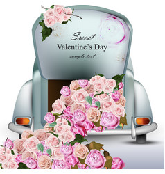 Vintage retro car with rose flowers valentines vector