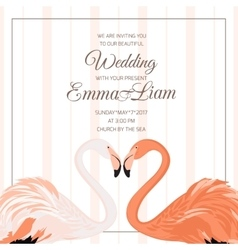 Wedding ceremony invitation flamingo couple heart vector
