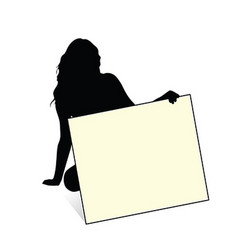 Girl sensual silhouette with card in hand vector