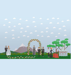 Flat of groom and bride with vector