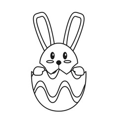 Easter bunny in egg surprise thin line vector