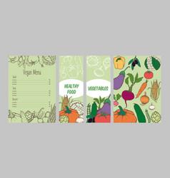 Colorful vegetarian menu template vector