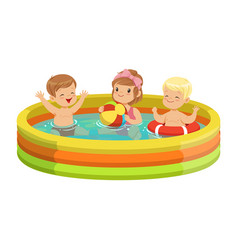 happy kids having fun in inflatable swimming pool vector image