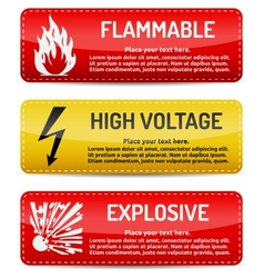 Flammable high voltage explosive - danger sign set vector