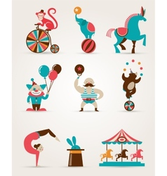 Vintage huge circus collection with carnival fun vector