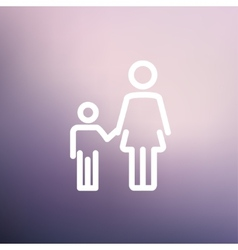 Mother and child thin line icon vector