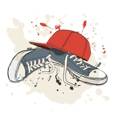 Drawing with sneakers and baseball cap vector