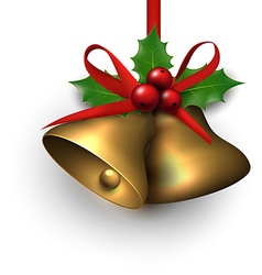 Golden shiny christmas bells vector image