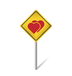 Two hearts warning sign vector
