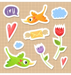 Cute sticker set with birds hearts and flowers vector