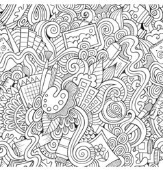 Cartoon sketchy doodles hand drawn art and vector image