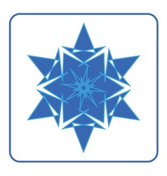 Snowflake icon blue sign vector
