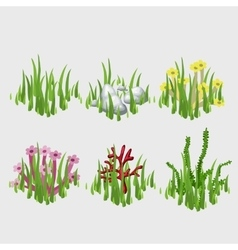 Icons of grass with different flowers and elements vector