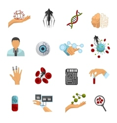 Nanotechnology colored icon set vector