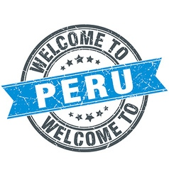Welcome to peru blue round vintage stamp vector