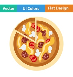 Flat design icon of pizza on plate vector