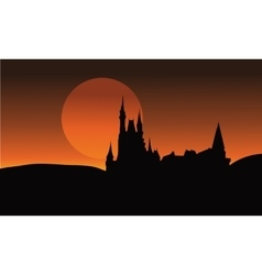 Silhouette of castle halloween very scary vector