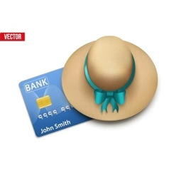 Summer vacation with a credit card vector