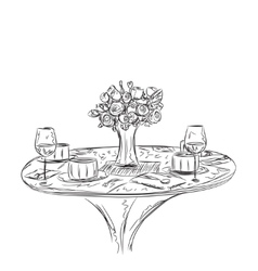 a romantic table for two vector image
