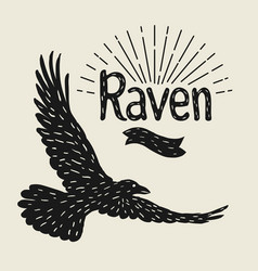 background with black flying raven hand drawn vector image vector image