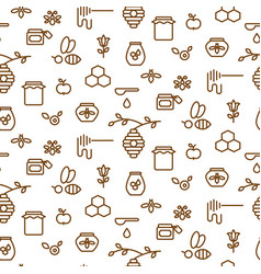 beekeeping outline icon seamless pattern vector image vector image