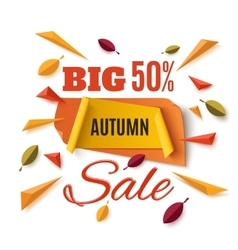 Big autumn sale banner with abstract leafs vector