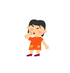 Cartoon character asian girl in surprise vector