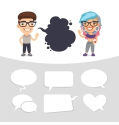 Casually Dressed Characters with a Speech Bubbles vector image vector image