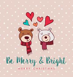 christmas cute holiday love bears cartoon card vector image
