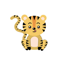 Cute tiger wild animal with face expression vector