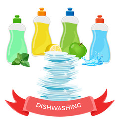 Dishwashing liquid means and pile of clean shiny vector