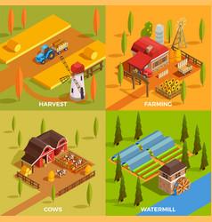 farm isometric 2x2 concept vector image vector image