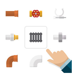 flat icon pipeline set of conduit cast connector vector image vector image