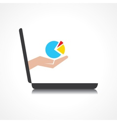 Hand holding business graph comes from laptop vector