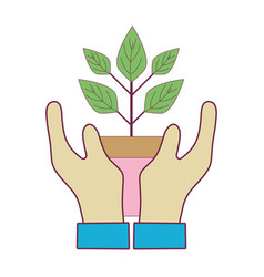 Hand with plant with flowerpot to planet vector