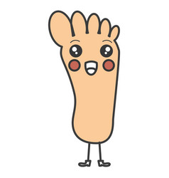 Human foot plant kawaii character vector