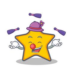 Juggling star character cartoon style vector